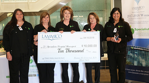 Specialists Hospital Shreveport Honored with LAMMICO's 3rd Annual Patient Safety Award